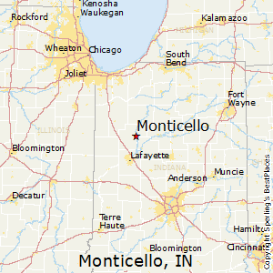 Monticello,Indiana Map