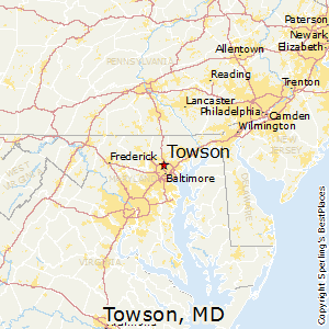 Towson,Maryland Map