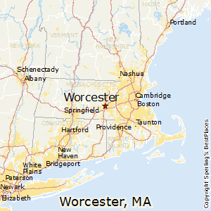 Worcester,Massachusetts Map
