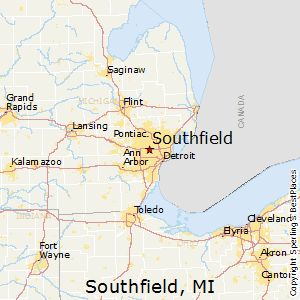 Southfield,Michigan Map