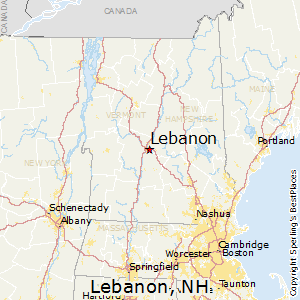 Lebanon,New Hampshire Map