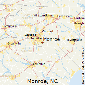 Monroe,North Carolina Map