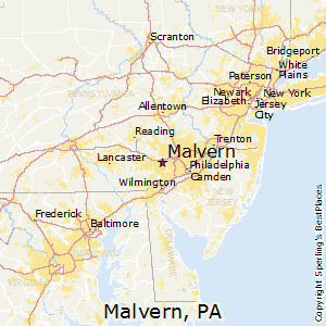 Malvern,Pennsylvania Map