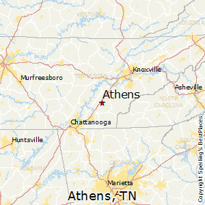 Athens,Tennessee Map