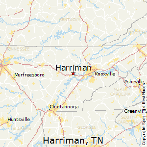 Harriman,Tennessee Map