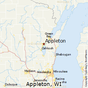Appleton,Wisconsin Map