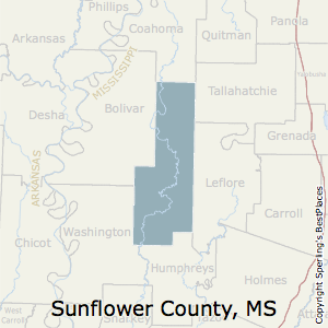 Sunflower,Mississippi County Map
