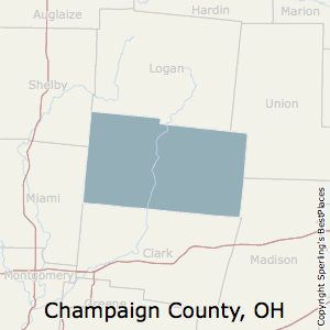 Champaign,Ohio County Map