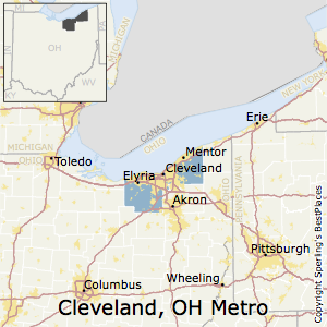 Cleveland-Elyria,Ohio Metro Area Map