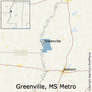 Greenville,Mississippi Metro Area Map