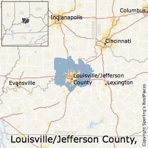 Louisville,Kentucky Metro Area Map