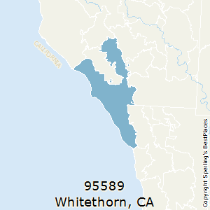 Whitethorn,California(95589) Zip Code Map