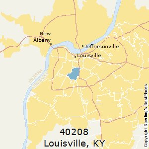 Louisville,Kentucky(40208) Zip Code Map