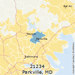 Parkville,Maryland(21234) Zip Code Map