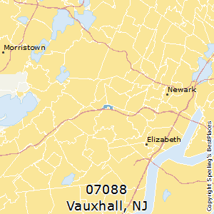 Vauxhall,New Jersey(07088) Zip Code Map