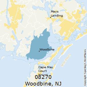 Woodbine,New Jersey(08270) Zip Code Map