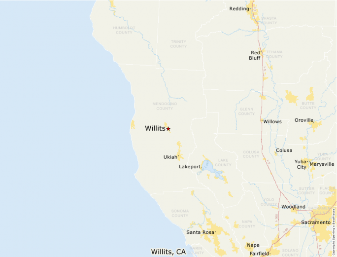 Map of willits california