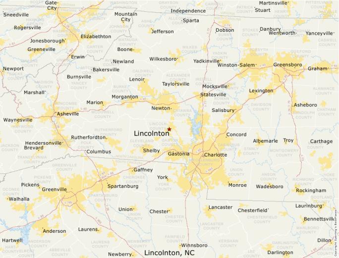 city map of lincolnton nc