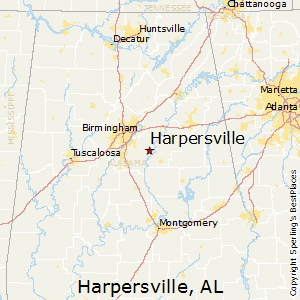 Harpersville,Alabama Map