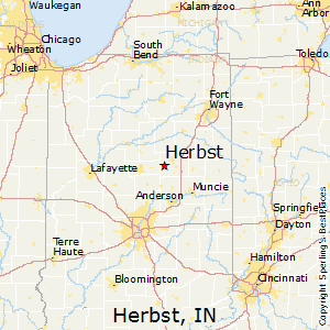 Herbst,Indiana Map
