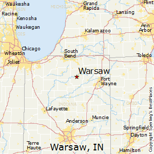 Warsaw,Indiana Map