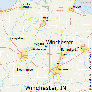Winchester,Indiana Map