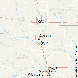 Akron,Iowa Map