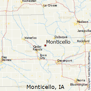 Monticello,Iowa Map
