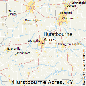Hurstbourne_Acres,Kentucky Map