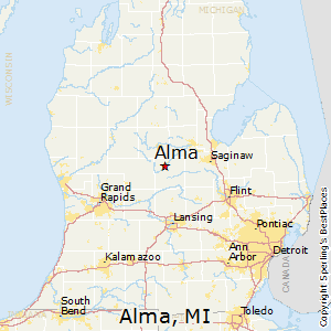 Alma,Michigan Map