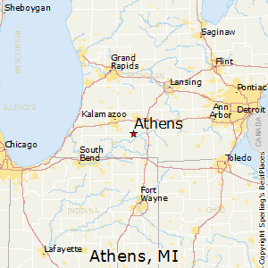 Athens,Michigan Map