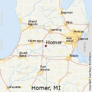 Michigan And Ohio Map.Homer Mi Map 14 11 Kaartenstemp Nl