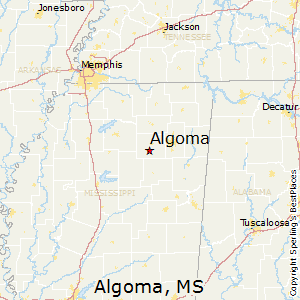 Algoma,Mississippi Map