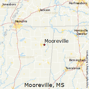 Mooreville,Mississippi Map