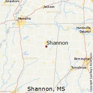 Shannon,Mississippi Map