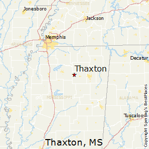 Thaxton,Mississippi Map