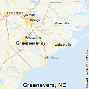 Greenevers,North Carolina Map