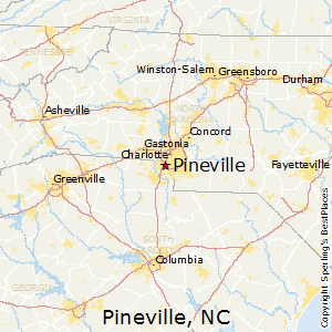 Pineville,North Carolina Map