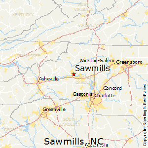 Sawmills,North Carolina Map