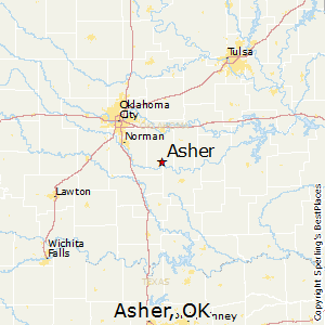 Asher,Oklahoma Map