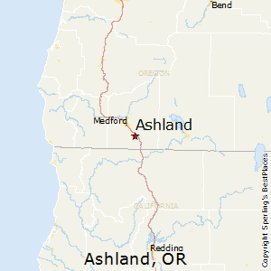 Ashland,Oregon Map