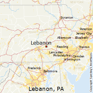 Lebanon,Pennsylvania Map