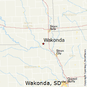 Wakonda,South Dakota Map