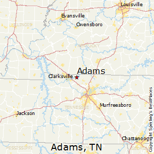 Adams,Tennessee Map
