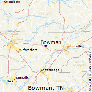 Bowman,Tennessee Map