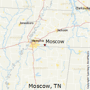 Moscow,Tennessee Map