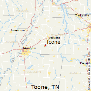 Toone,Tennessee Map