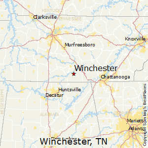 Winchester,Tennessee Map