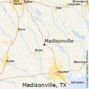 Madisonville,Texas Map