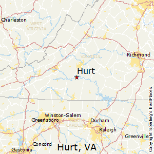 Hurt,Virginia Map